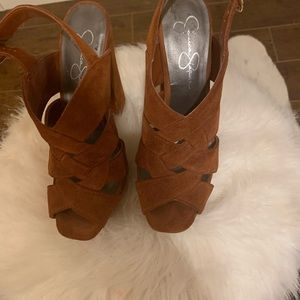 Jessica Simpson Shoes - Jessica Simpson cognac suede heels